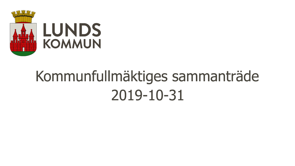 Kommunfullmäktiges sammanträde 2019-10-31