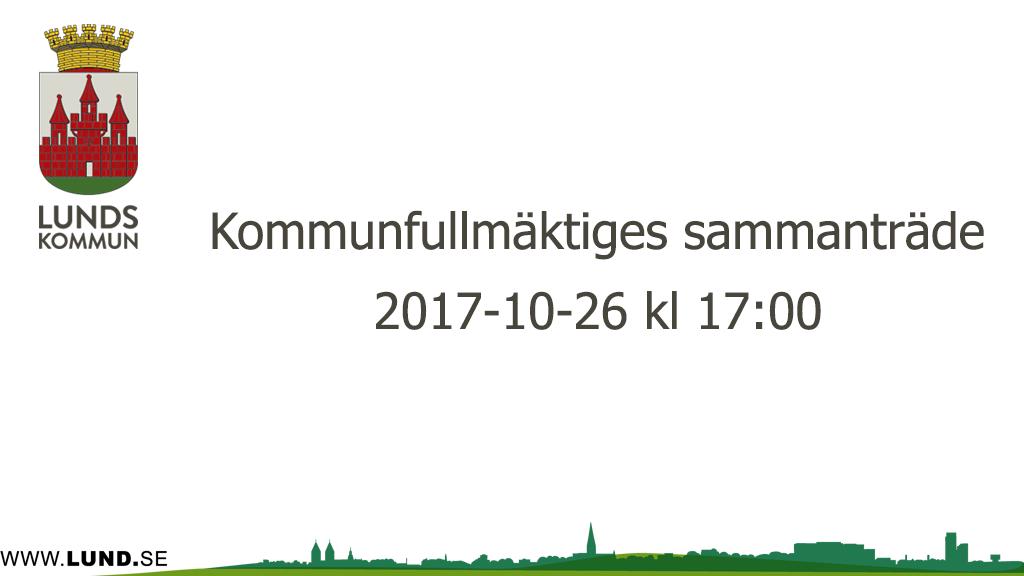 Kommunfullmäktiges sammanträde 2017-10-26