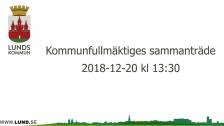 Kommunfullmäktiges sammanträde 2018-12-20