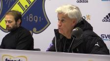 Presskonferensen efter straffavgörandet mot AIK