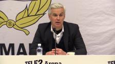 Presskonferensen efter 1-1-mötet med Jönköpings Södra
