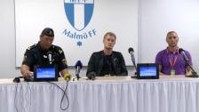 Presskonferensen efter den avbrutna matchen MFF-DIF 2011